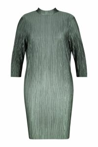 Womens Plus High Neck Plisse Shift Dress - green - 24, Green
