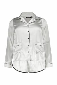 Womens Plus Button Down Pyjama Shirt Set - grey - 20, Grey
