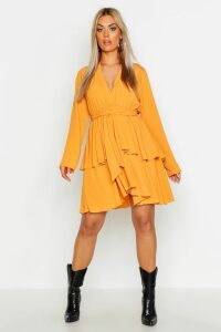 Womens Plus Plunge Tie Waist Skater Dress - yellow - 18, Yellow
