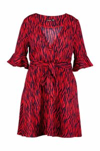Womens Plus Animal Print Horn Button Skater Dress - red - 26, Red