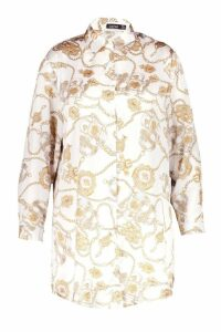 Womens Plus Satin Chain Printed Shirt Dress - white - 22, White