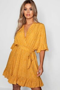Womens Plus Spotty Wrap Skater Dress - yellow - 20, Yellow