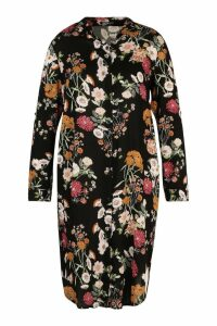 Womens Plus Floral Printed Shirt Dress - black - 24, Black