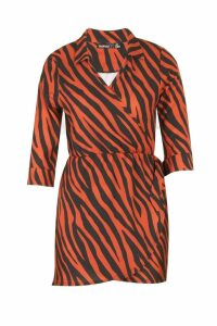 Womens Petite Zebra Print Shirt Dress - brown - 6, Brown