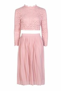 Womens Boutique Lace Top and Midi Skirt Set - pink - 14, Pink