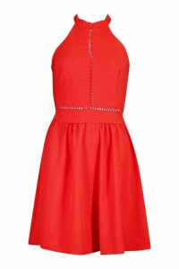 Womens Haleterneck Bow Back Detail Skater Dress - red - 14, Red