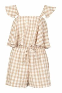 Womens Frill Sleeve Gingham Top & Short Co-ord - beige - 12, Beige