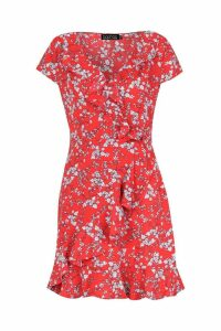 Womens Woven Ditsy Floral Tea Dress - red - 12, Red