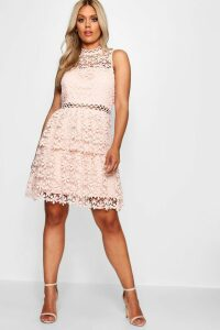 Womens Plus Lace Tiered Skater Dress - pink - 22, Pink