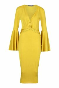 Womens Plunge Front Twist Flared Sleeve Midi Dress - yellow - 12, Yellow