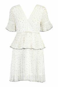 Womens V Neck Lace Trim Pleated Polka Dot Skater Dress - white - M, White