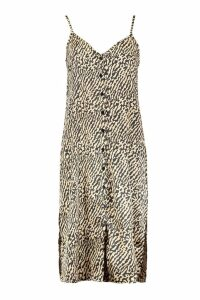 Womens Button Through Satin Animal Cami Dress - beige - 16, Beige
