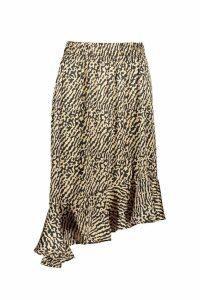 Womens Ruffle Hem Tonal Animal Midi Skirt - beige - 16, Beige