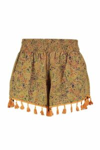Womens Plus Tassel Trim Paisley Runner Shorts - green - 20, Green