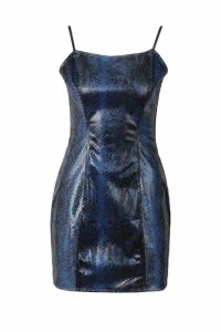 Womens Snakeskin Wet Look Mini Dress - blue - 12, Blue