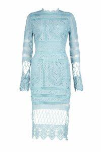 Womens Boutique Lace Panelled Midi Dress - blue - 14, Blue