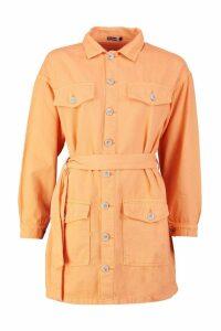 Womens Tie Waist Utility Pocket Denim Dress - orange - 10, Orange