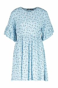 Womens Ditsy Floral Smock Dress - blue - 8, Blue