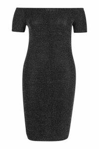 Womens Plus Shimmer Off Shoulder Midi Dress - grey - 16, Grey