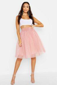 Womens Full Tulle Mesh Midi Skirt - Beige - 14, Beige