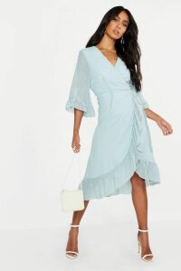 Womens Dobby Chiffon Wide Sleeve Midi Wrap Dress - green - 12, Green