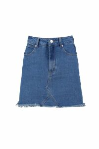 Womens Petite Raw Edge Denim Mini Skirt - blue - 10, Blue