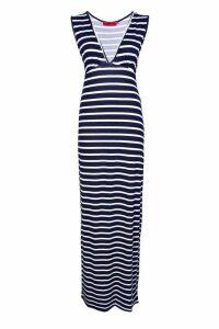Womens Petite Plunge Striped Jersey Maxi Dress - navy - 10, Navy