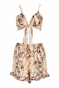Womens Tall Snake Print Tie Front Shorts Co-Ord - orange - 16, Orange