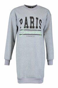 Womens Tall Paris France Slogan Sweat Dress - grey - S, Grey