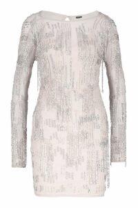 Womens Premium Hand Embellished Fringe Trim Mini Dress - Beige - 8, Beige