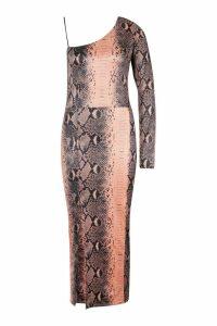 Womens Tall Snake Slinky One Shoulder Midi Dress - brown - 8, Brown