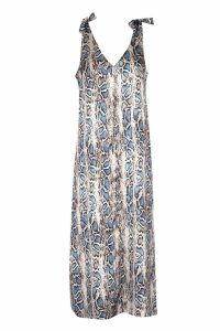 Womens Tall Tie Strap V Neck Snake Slip Midi Dress - blue - 6, Blue