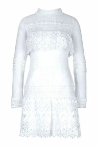 Womens Premium Longsleeve Crochet Lace Dress - white - M, White