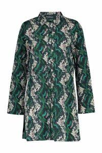 Womens Tall Snake Print Shirt Dress - green - 8, Green