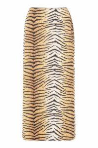 Womens Tall Tiger Print Slinky Midi Skirt - orange - 8, Orange