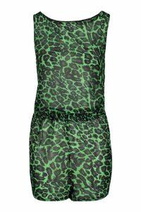Womens Leopard Vest & Short Beach Co-Ord - green - XS, Green