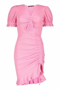 Womens Tall Ruched Ruffle Rib Mini Dress - pastel pink - 14, Pastel Pink