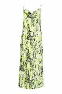 Womens Tall Cowl Satin Snake Midi Dress - green - 10, Green