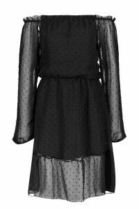 Womens Tall Bardot Dobbymesh Skater Dress - black - 6, Black
