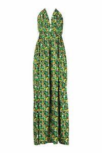Womens Tall Plunge Front Floral Print Maxi Dress - black - 6, Black