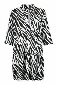 Womens Tall Zebra Print Smock Dress - black - 8, Black