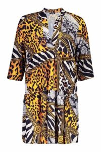 Womens Tall Chain Print Smock Dress - yellow - 8, Yellow