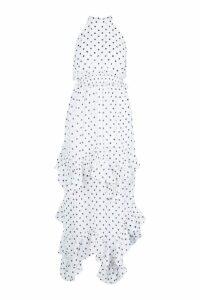 Womens Tall Polka Dot Shirred High Neck Maxi Dress - white - 10, White