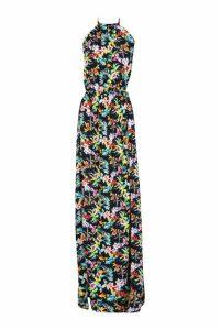 Womens Tall Backless Tropical Print Maxi Dress - black - 8, Black