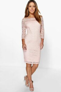 Womens Petite Lace Bardot Midi Dress - Beige - 10, Beige