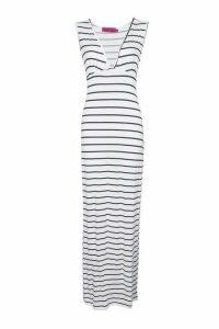 Womens Petite Plunge Striped Jersey Maxi Dress - white - 14, White