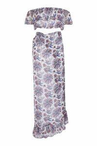 Womens Paisley Wrap Skirt Beach Co-Ord - white - M, White