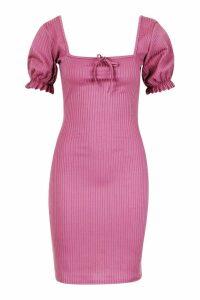 Womens Tall Puff Sleeve Square Neck Rib Mini Dress - pink - 14, Pink