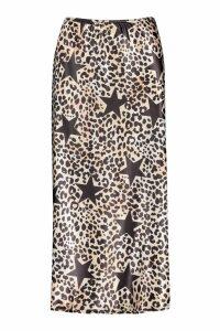Womens Tall Star and Leopard Print Midi Skirt - multi - 8, Multi