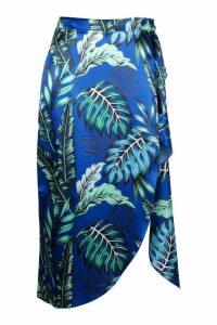 Womens Tall Satin Palm Print Wrap Front Midi Skirt - blue - 14, Blue